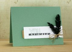 handmade friendship card ... black die cut feathers focal point ... soft aqua base card ... sentiment with graphic look ... great card!!