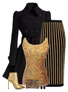 """black & gold"" by divacrafts ❤ liked on Polyvore featuring moda, Balmain, Yves Saint Laurent, Clare V. ve Original"