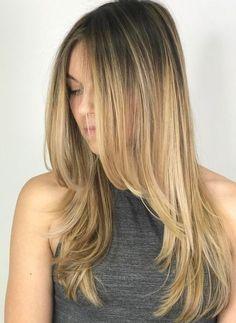 Long Layered Blonde Balayage Hairstyle