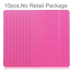 [$19.98] 10 PCS HAWEEL for iPad mini 3 / 2 / 1 Three-folding Smart Case Clear Back Cover with Holder, No Retail Package(Magenta)