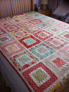 Square in a Square, used YouTube tutorial from Missouri Star Quilting Company, Marmalade by Bonnie & Camille, made by me!