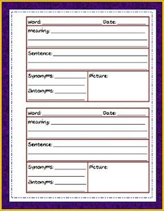 Vocabulary Journal. Keep in a binder and at the end of the year they'll be able to see how much they've learned!