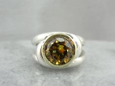 Modernist Sun: Golden Zircon and Sterling Silver Cocktail Ring