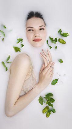 milk bath flower crown photoshoot - Google Search