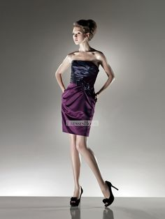 Strapless Open Back Knee Length with Hand Made Flower Satin Short Prom Dress PD10221