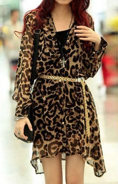 Sexy Plunging Neck Leopard Print Long Sleeves Chiffon Shirt For Women                                                                                                                                                                                 More