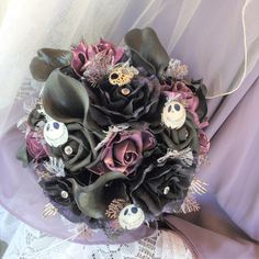 Gothic Tim Burton-Nightmare before Christmas-Gothic Wedding-Gothic Flowers in Black/Purple/Plum-Jack Skellington Wedding-Fantasy Wedding by ModernWeddingTrends on Etsy https://www.etsy.com/au/listing/465188802/gothic-tim-burton-nightmare-before