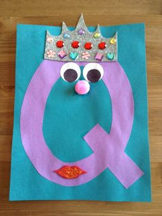 Q is for Queen Craft - Letter Craft - Princess Craft Completed Preschool Letter Crafts, Alphabet Letter Crafts, Abc Crafts, Preschool Projects, Daycare Crafts, Bible Crafts, Preschool Activities, Letter Art, Alphabet Books
