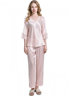 ed300aad7d Sheer Laced Silk Pajamas Set For Women