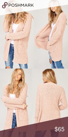 Blush Popcorn Cozy Pocket Open Cadigan Blush Popcorn Cozy Pocket Open Cadigan Preorder Ships Next week! Model is 5 feet 9 inches 32B-24-34 and wearing a size S No Trades Price is Firm Glamvault Sweaters Cardigans