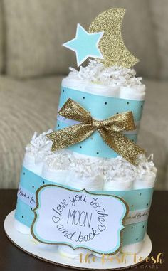 Mint Gold Moon and Star Diaper Cake Baby Shower Centerpiece - Awesome Baby Shower Party DIY - Baby Tips Regalo Baby Shower, Baby Shower Diapers, Baby Shower Cakes, Space Baby Shower, Baby Boy Shower, Baby Shower Gifts, Shower Party, Baby Shower Parties, Baby Shower Themes