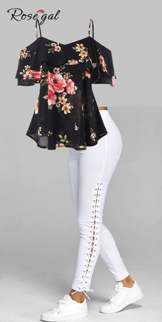 Free shipment worldwide, up to off, Rosegal off the shoulder floral print tops and Elastic Waist Lace Up Leggings for women, cozy and comfortable . Comfortable Summer Outfits, Summer Work Outfits, Trendy Outfits, Casual Summer, Summer Clothes, Lace Up Leggings, How To Wear Leggings, Leggings Store, Cheap Leggings