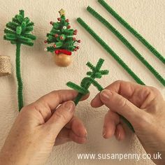 * Make this fun project with Susan Penny These miniature Christmas trees cost just a few pence to make using things from your garden shed and your sewing box. The trees are made from soft plant ties bought from a garden centre, wrapped around a central stem – similar to pipe cleaners but with a wire …