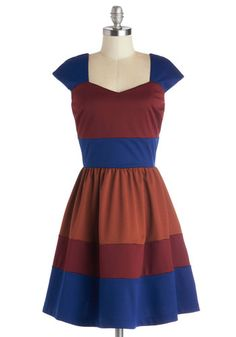 San Francisco Sorbet Dress in Wine - Red, Blue, Brown, Casual, A-line, Cap Sleeves, Better, Colorblocking, Exclusives