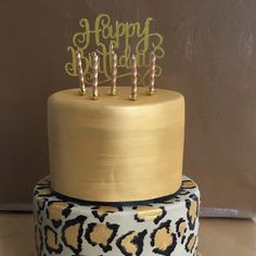 Leopard print and brushed gold cake 30th Birthday Cake For Women, 25th Birthday Cakes, 50th Cake, Sweet 16 Birthday, 22 Birthday, Birthday Favors, Cheetah Print Cakes, Leopard Cake, Leopard Party