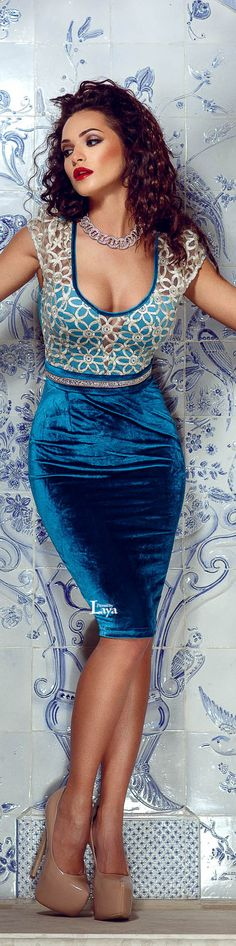 Blue Velvet Pencil Skirt & Sheer Top  #UNIQUE_WOMENS_FASHION