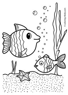 Fish Nature Coloring Page For Kids Printable Free