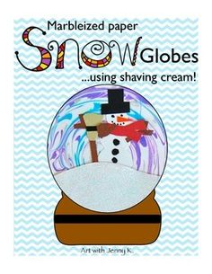 This lesson uses one of the funnest art techniques that you will ever do with your kids! Make marbleized paper and use it for snow globes--F-U-N!!!!