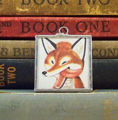 Vintage Book Illustration Glass Charm Soldered Pendant - Red Fox