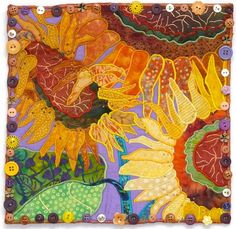Just FUN!  Great color combos.  From the SAQA auction: Nancy Turbitt*    Girasole