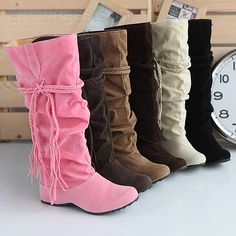 Pretty Woven String Color Flat Long Boots Knee High Boots