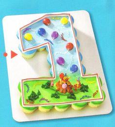 Number 1 Cupcake Cake Cupcake Cakes Cupcake Pull Apart Cakes