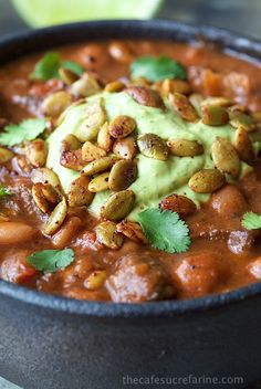 This sounds amazing minus the beans   Beef and Bacon Chili - with tender beef, bacon and super tender pinto beans this delicious chili is perfect for guests, make ahead easy week night dinners and lunches for school or work.