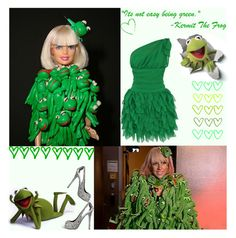 """""""It's not easy being green........."""" by irresistible-livingdeadgirl ❤ liked on Polyvore featuring Michele, Alexander McQueen, kermit, filler, song, silver, lyrics, clutch, lady gaga and sesame street"""