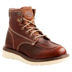 Men's Dickies Trader Genuine Leather Work Boots - Red Oak 11, Red Brown