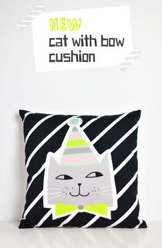 Finally is here - my new cushion with this cute cat! This decorative pillow with a cat - in bold and contrasting colors paired with soft ones - is p Kids Pillows, Throw Pillows, Nursery Accessories, Kids Story Books, Baby Bibs, Cool Kids, Decorative Pillows, Kids Room, Kids Fashion