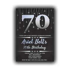 CUSTOM Silver Happy Birthday 70th Invitations Chalkboard