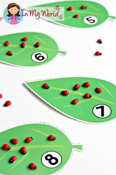 Preschool Spring Centers: count out the number of ladybugs indicated on the leaves. Great for fine motor practice too!