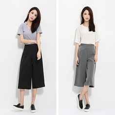 2015 Korean straight loose slim 7 casual pants women's high waist cropped jeans wide-leg pants women