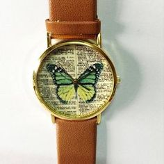 Butterfly Vintage Dictionary Print Leather Watch