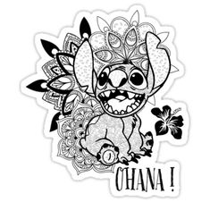 'Ohana Mandala' by KalikaGraphisme Disney Stitch Tattoo, Disney Tattoos, Disney Stich, Stitch Coloring Pages, Disney Coloring Pages, Colouring Pages, Adult Coloring Pages, Coloring Books, Mandala Disney