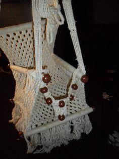 Vintage Retro Macrame Child Hanging Chair Swing