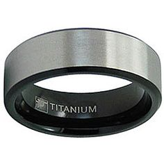 @Overstock - Brushed and highly polished ringBlack-plated and titanium men's jewelryClick here for ring sizing guidehttp://www.overstock.com/Jewelry-Watches/Mens-Titanium-Two-Tone-Ring-8-mm/3866875/product.html?CID=214117 $34.99