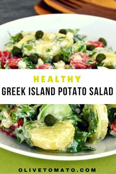 This potato salad inspired by the Greek islands includes summer vegetables along with creamy and light olive oil - Greek yogurt dressing.