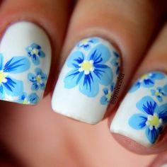 #Nail_Art #Flower_Print                                                                                                                                                      More