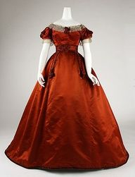 Love the Christmas worthy hue of this gorgeous rusty crimson dress from the mid-1860s. #red #Victorian #19th_century #1800s #photograph #antique #vintage #historical #costume #fashion