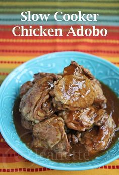 Slow Cooker Adobo Chicken - a Filipino dish  my mom used to make all the time, pure comfort food #chicken #slowcooker