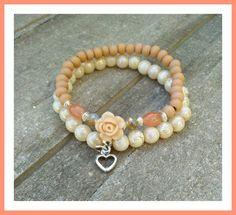 Sweet as a peach😍  #armbandjes #kralen #beads #bedels #charms #armbandenset #handmadejewerly #bohochic @jadoresieraden