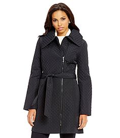 Anne Klein Asymmetrical Quilted Walker Wrap Coat #Dillards