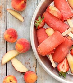 strawberry peach vodka popsicles.
