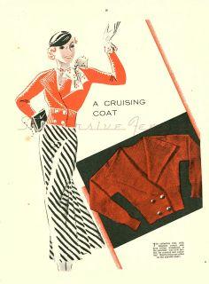 free vintage knitting pattern 1930s cruising coat art deco gatsby sailor sailing womens cardigan