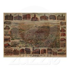 Shop Vintage Pictorial Map of Los Angeles Poster created by Alleycatshirts. Pictorial Maps, Custom Posters, Custom Framing, Vintage Shops, Vintage World Maps, Vibrant, Creative, Wall, Artwork