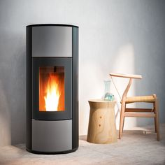 """Forced ventilation pellet stoves, in which front panels in coloured painted steel are inserted into the black metal structure. It has a new firebox characterized by curved lines: it is larger and deeper and offers an even more breathtaking view of the fire. Features: standard sealed structure, ideal for ensuring maximum thermal comfort even in high-efficiency houses """"environmentally friendly"""" design: this stove is already compliant with the Ecodesign 2022 directive on emissions and envi..."""