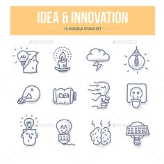 Idea & Innovation Doodle Icons — Vector EPS #electric #power • Available here → https://graphicriver.net/item/idea-innovation-doodle-icons/14509435?ref=pxcr