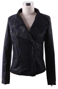 Black Band Collar Pocket Side PU Leather Biker Jacket