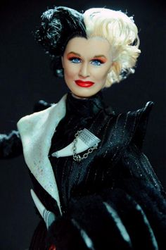 "Cruella played by Glen Close from the move ""101 Dalmations""."